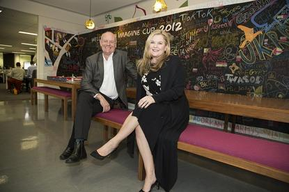 World Vision Australia CEO Tim Costello with Microsoft Australia and New Zealand managing director Pip Marlow.