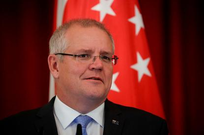 Australian Prime Minister Scott Morrison speaks during a joint press conference at the Istana Presidential Palace in Singapore, 07 June 2019.
