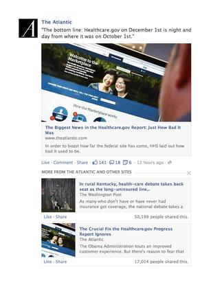 How an article might appear on Facebook's News Feed under new rankings announced Dec. 2, 2013.