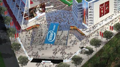 An artist's rendition of the planned Intel Plaza at the San Francisco 49ers' new stadium in Santa Clara, California, opening next year.