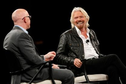 Virgin boss Sir Richard Branson is interviewed on stage at CA World in Las Vegas.