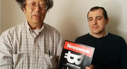 Dorian Nakamoto (left) thanks supporters who donated bitcoin to help him after Newsweek identified the cash-strapped man as the founder of the digital currency. Andreas Antonopoulos (right) of Bitcoin wallet service Blockchain organized the fundraiser.
