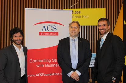 L to R: Victor Dominello MP, John Ridge ACSF and Vice Chancellor UTS – Prof Attila Brungs.