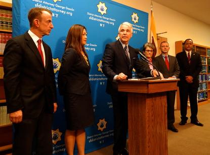 San Francisco District Attorney George Gascon, pictured Dec. 9, 2014, announcing a consumer protection lawsuit against Uber.