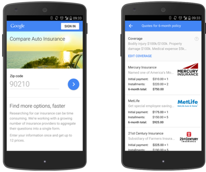 Google's new U.S. car insurance service lets people compare quotes from multiple providers.
