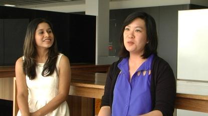 UNSW students Kimberley Jacinto (left) and Carine Ma