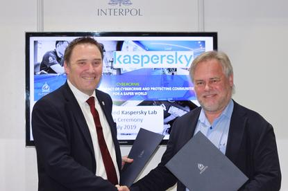 Tim Morris, Executive Director of Police Service at Interpol, and Eugene Kaspersky, CEO of Kaspersky, signed the agreement.
