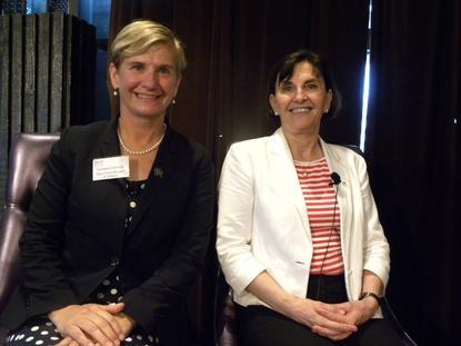 Lynwen Connick (L) with fellow FITT panellist, Susan Pond (R) (photo: Holly Morgan)