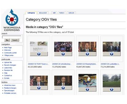 A selection of Ogg videos at Wikimedia Commons