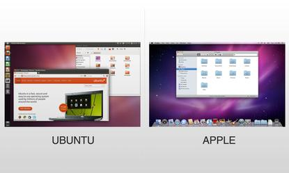 Ubuntu and Apple have their own unique PC operating systems, Unity on Linux and Mac OS X, respectively