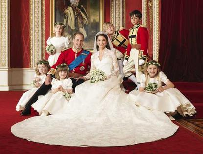 The Royal Wedding at Buckingham Palace on 29th April 2011: The Bride and Groom, TRH The Duke and Duchess of Cambridge in the centre with attendants, (clockwise from bottom right) The Hon. Margarita Armstrong-Jones, Miss Eliza Lopes, Miss Grace van Cutsem, Lady Louise Windsor, Master Tom Pettifer, Master William Lowther-Pinkerton, <br> Taken in the Throne Room. <br> Photograph by [[xref:http://www.flickr.com/photos/britishmonarchy/5672234290/in/set-72157626613171058/|Hugo Burnand]]