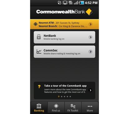 The CommonWealth Bank's (CBA) new Android app (July, 2011) is similar to the Web-browser version