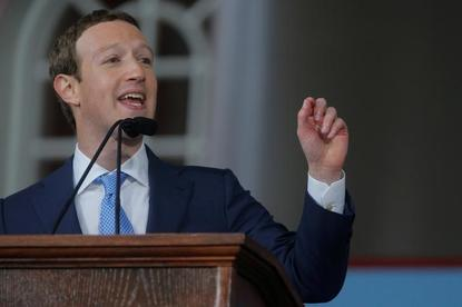 Facebook founder Mark Zuckerberg speaks during the Alumni Exercises following the 366th Commencement Exercises at Harvard University in Cambridge, Massachusetts, U.S