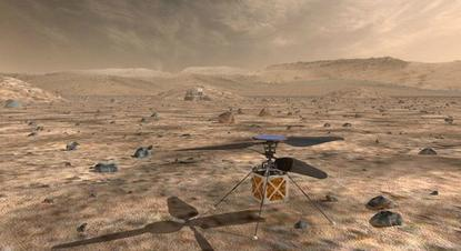 NASA's Mars Helicopter, a small, autonomous rotorcraft, which will travel with the agency's Mars 2020 rover, currently scheduled to launch in July 2020, to demonstrate the viability and potential of heavier-than-air vehicles on the Red Planet, is shown in this artist rendition from NASA/JPL in Pasadena, California, U.S. May 11, 2018. Courtesy NASA/JPL-Caltech/Handout via REUTERS