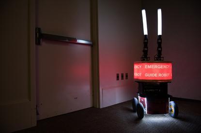 An emergency guidance robot used in a Georgia Tech study on human-robot trust Credit: Georgia Tech