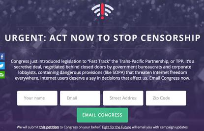 Digital rights group Fight for the Future encourages the public to oppose fast track trade legislation in the U.S. Senate.