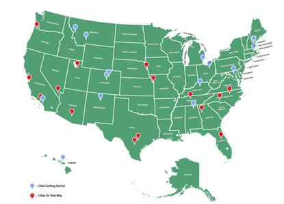 About 30 U.S. cities have launched or are launching municipal broadband networks, according to this graphic from a report published on July 21, 2015.
