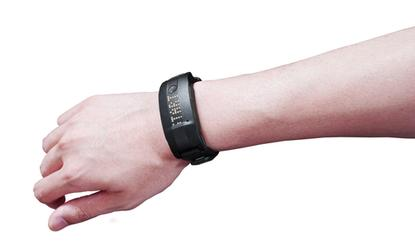 The Toshiba W20 smart band can help monitor the daily lives of seniors including meals, conversation and exposure to ultraviolet light.