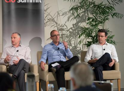 Atomic Sky's Andy Lamb (far left) with Bankwest's Andy Weir, and Wesfarmers' Matt Toohey