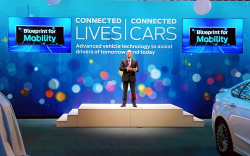 Steve Odell, executive vice president and president of Europe, Middle East and Africa, Ford Motor Company, speaks at Mobile World Congress in Barcelona on February 24, 2014