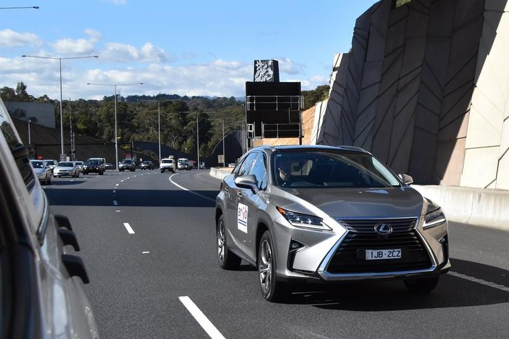 A Lexus with automated features on trial at the Melba tunnel, Melbourne