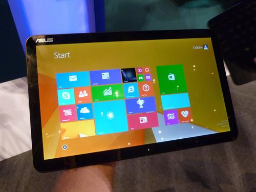 The Asus Transformer Book T300 Chi on show at Computex in Taipei on June 4, 2014