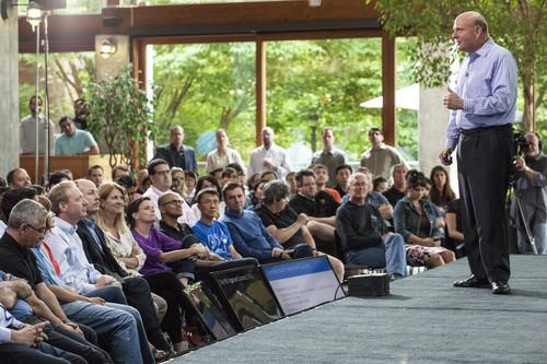 Microsoft CEO Steve Ballmer talking to employees about One Microsoft at a town hall meeting in July 2013, only about a month before he announced his retirement.