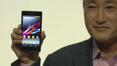 Sony CEO Kaz Hirai shows off the Xperia Z1 at a Sony news conference in Berlin on September 4, 2013.