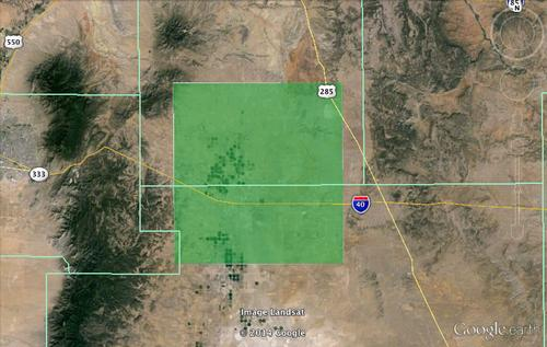 The area of New Mexico where Google wants permission to test Internet delivery by drone.