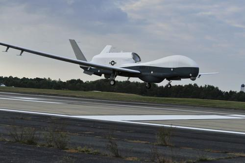 The MQ-4C Triton unmanned aircraft system prepares to land at Naval Air Station Patuxent River, Md., after completing an approximately 11-hour flight from Northrop Grumman's California facility.