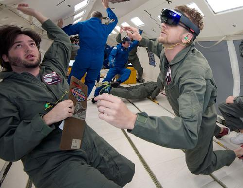 Microsoft and NASA engineers test the HoloLens during a flight designed to simulate microgravity in space