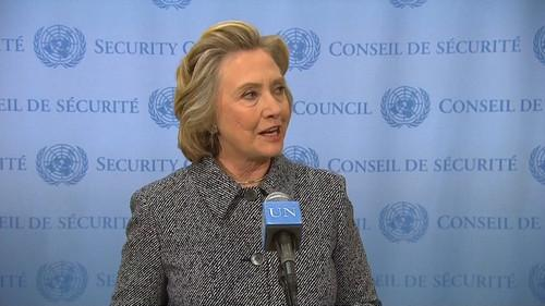 Hillary Clinton addresses questions over her use of personal e-mail while secretary of state during a news conference at the UN on March 10, 2015.