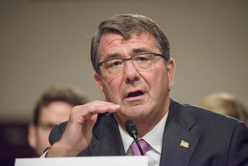Secretary of Defense Ashton B. Carter testifies before the U.S. Senate Committee on Armed Services' hearing discussing Counter-ISIL (Islamic State of Iraq and the Levant) Strategy, on Capitol Hill, July 7, 2015.