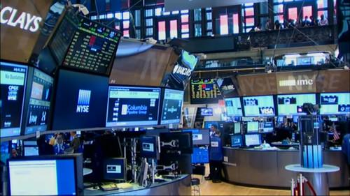 The floor of the New York Stock Exchange shortly after trading was halted on July 8, 2015.