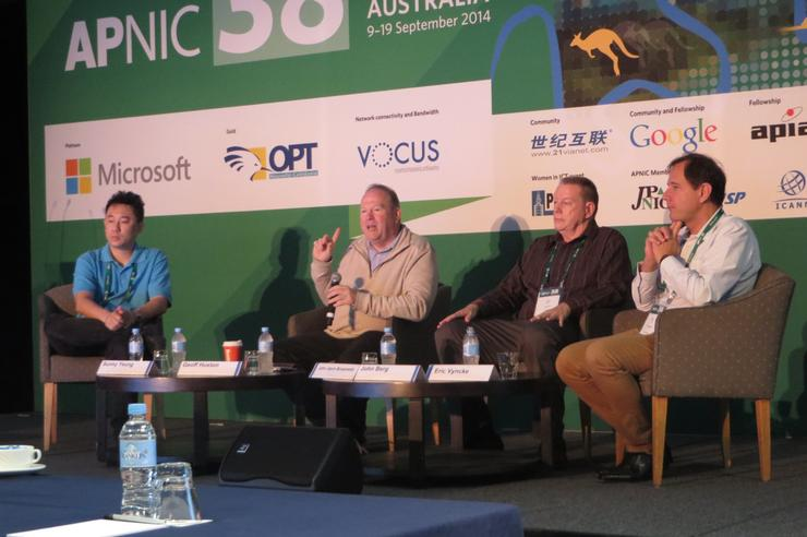 Left to right: Sunny Yeung (Telstra), Geoff Huston (APNIC), John Berg (CableLabs) and Eric Vyncke (Cisco).