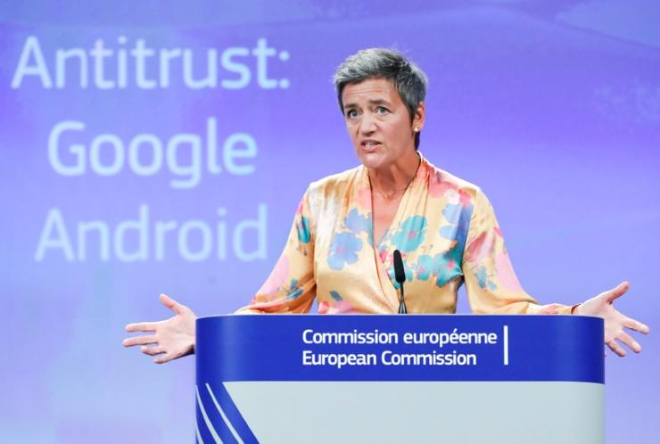 European Competition Commissioner Margrethe Vestager addresses a news conference on Google in Brussels, Belgium, July 18, 2018. REUTERS/Yves Herman