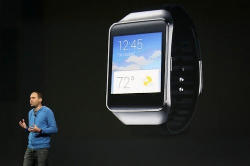 David Singleton, director of engineering for Android, gave details on the new Samsung Gear Live smartwatch running Android Wear during his keynote address at the Google I/O developers conference in San Francisco.