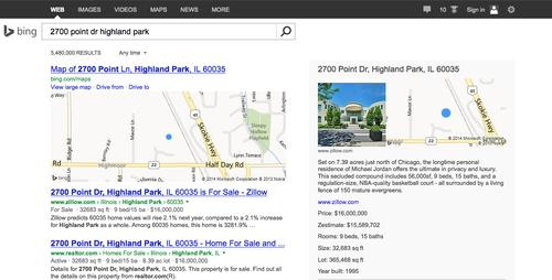Bing's snapshot feature displays results as a card incorporating other related information.