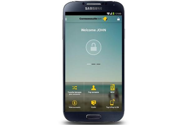 The CommBank app on a Samsung Android smartphone