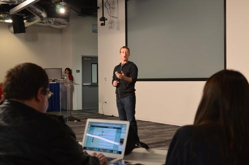 Facebook CEO Mark Zuckerberg speaks at the company's headquarters on January 15, 2013