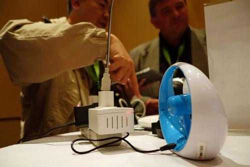 ThroughTek, based in China, used a connected fan to demonstrate an IoT device management system at the M2M Evolution conference in Las Vegas this week.