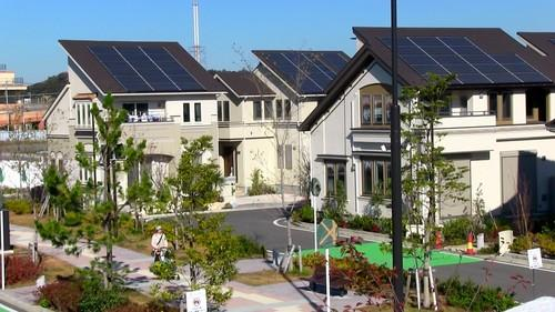 Panasonic opened its Fujisawa Sustainable Smart Town southwest of Tokyo on Thursday. Houses equipped with solar panels, storage batteries and LED lights are designed to eventually be CO2 emissions-free.