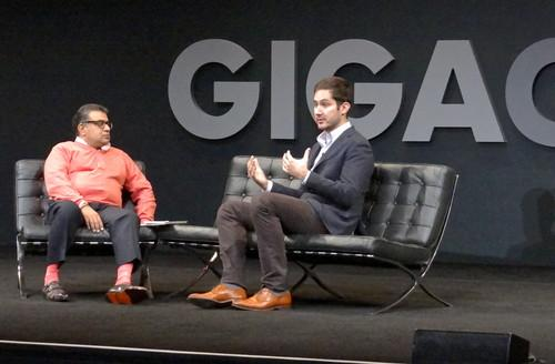 Instagram CEO Kevin Systrom, right, speaking with Gigaom Founder Om Malik in San Francisco on Nov. 6, 2013.