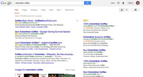"Google's search results page, as pictured in March 2014, uses a new ""Ad"" icon to denote advertiser links."