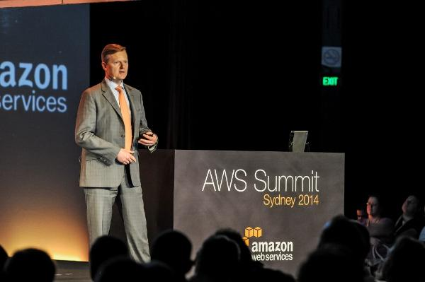 GPT CIO Greg Baster speaking at the Amazon Web Services Summit in Sydney this month