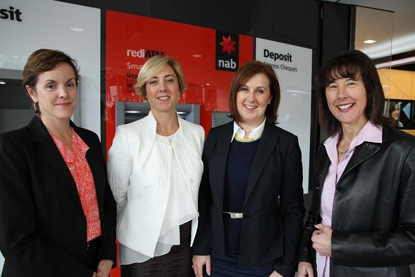 (From left) NAB support services technology general manager Dayle Stevens,  program office and commercial management GM Nicole Devine,  technology workplace service Lisa Palma and group executive, enterprise services and transformation Lisa Gray. Photo credit: NAB.