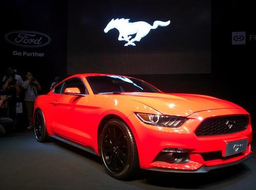 Ford's new Mustang on show at Computex in Taipei on June 2, 2014
