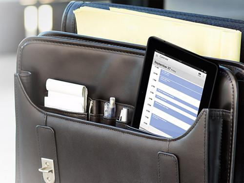 Kindle Fire HDX in briefcase