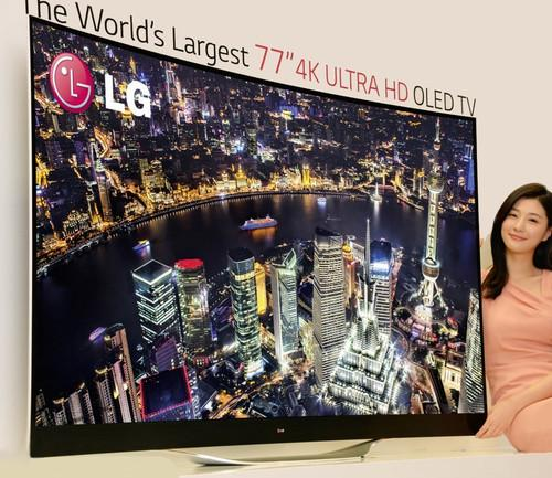 LG Electronics' 77-inch 4K OLED TV is shown in this undated handout from the company.
