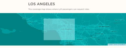 Lyft's coverage areas in LA, pictured as of Sept. 16, 2014.